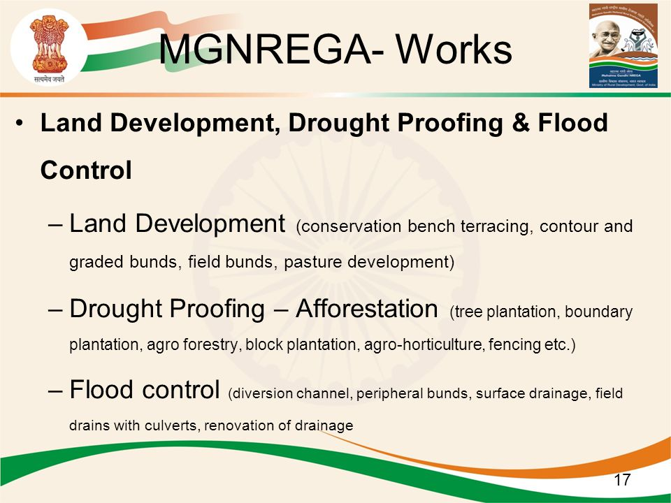 MGNREGA- Works Land Development, Drought Proofing & Flood Control