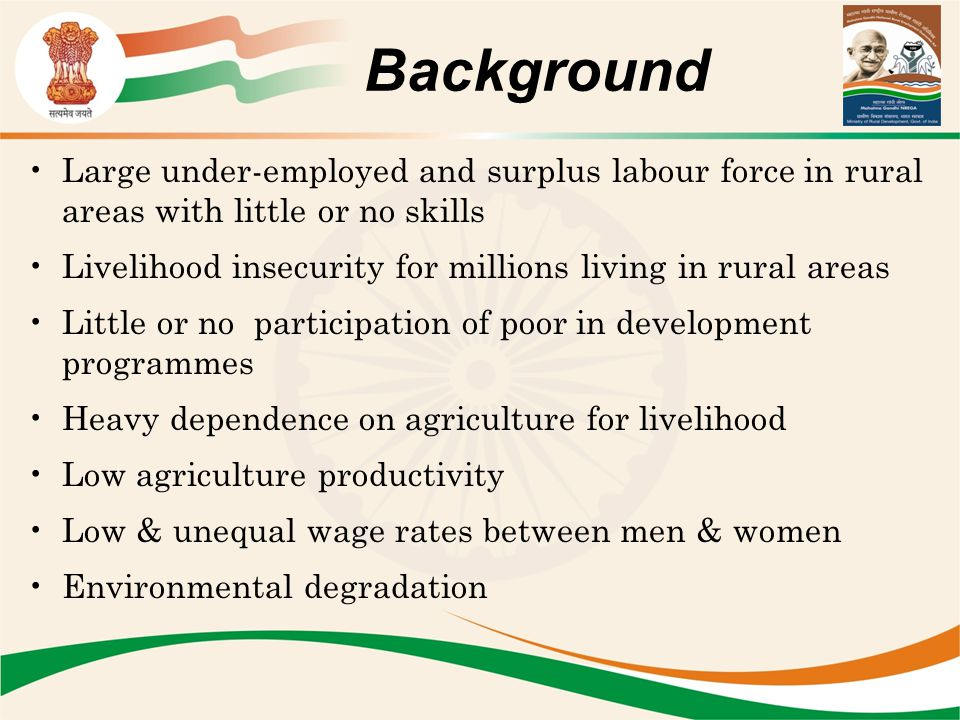 Background Large under-employed and surplus labour force in rural areas with little or no skills.