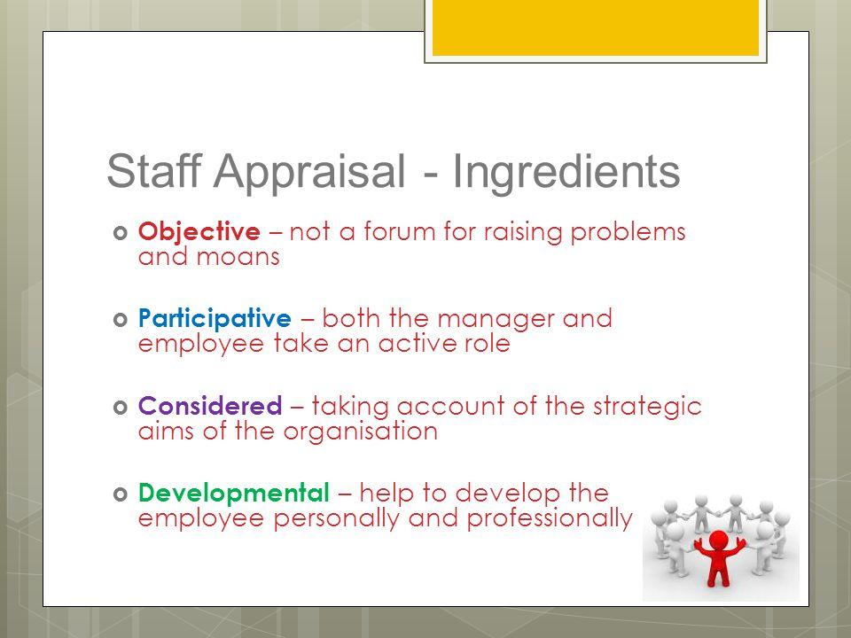 Staff Appraisal - Ingredients