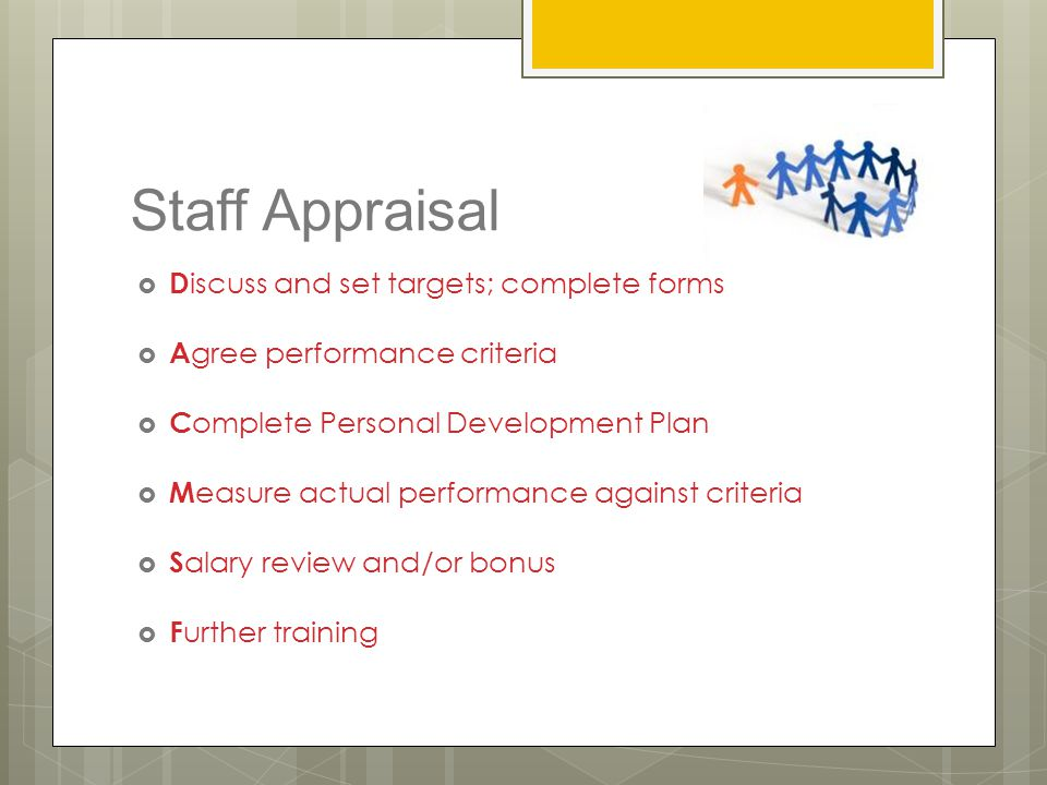 Staff Appraisal Discuss and set targets; complete forms