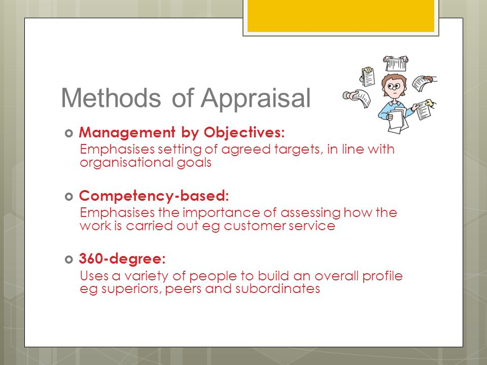 Methods of Appraisal Management by Objectives: Competency-based:
