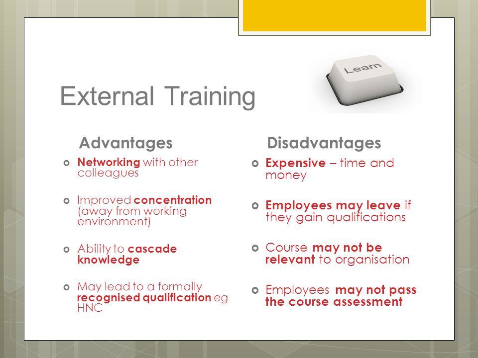 External Training Advantages Disadvantages Expensive – time and money