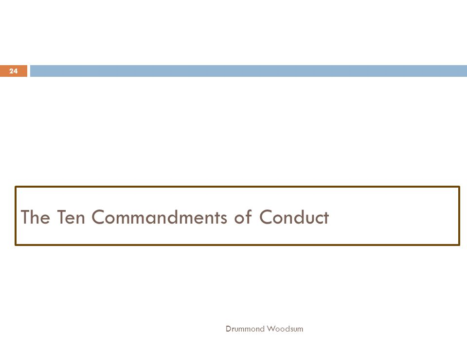 The Ten Commandments of Conduct