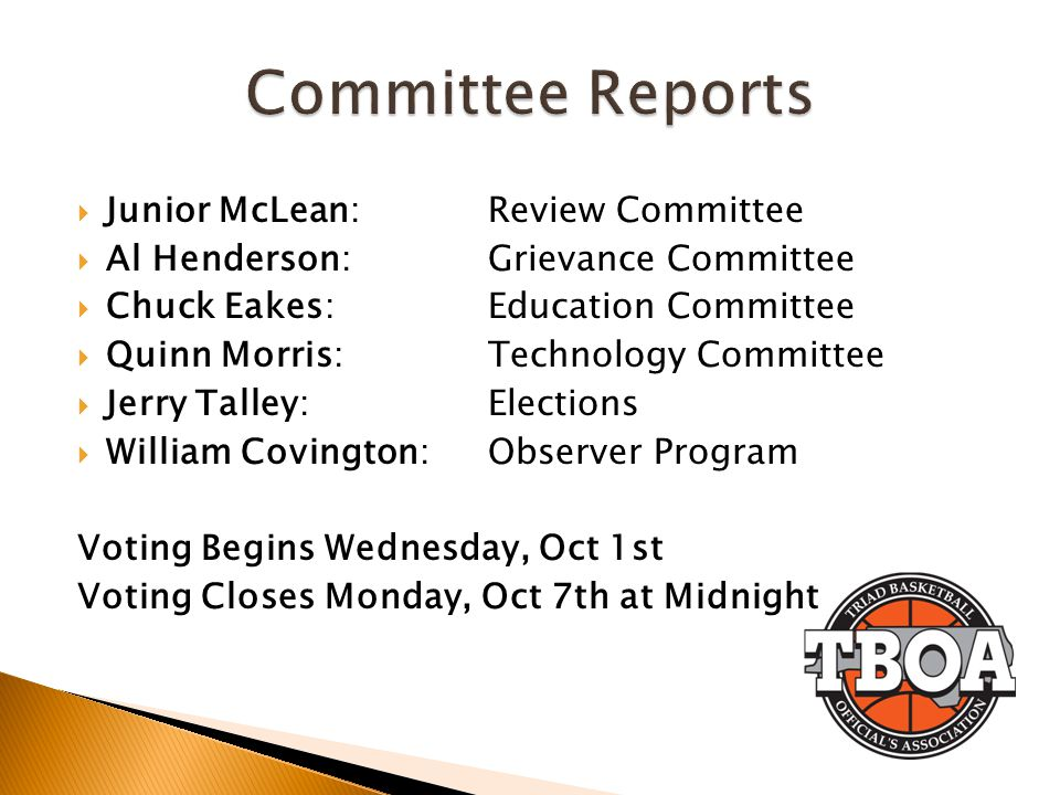 Committee Reports Junior McLean: Review Committee