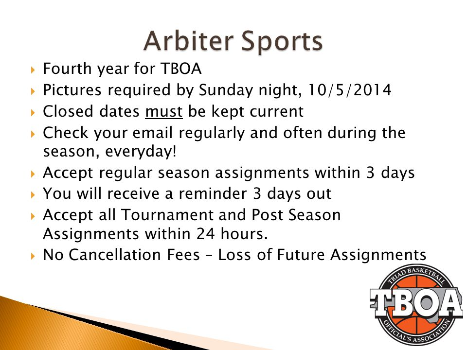 Arbiter Sports Fourth year for TBOA