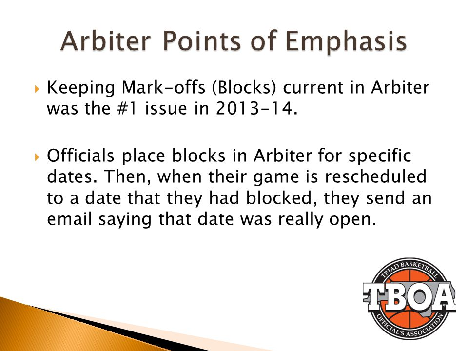 Arbiter Points of Emphasis