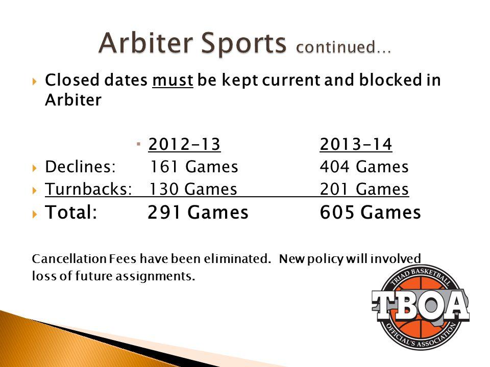 Arbiter Sports continued…