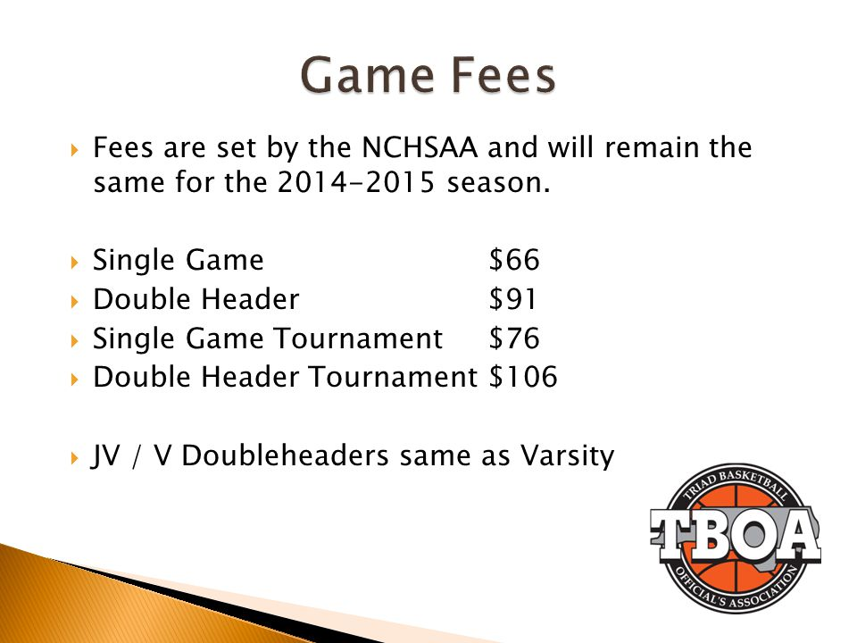 Game Fees Fees are set by the NCHSAA and will remain the same for the 2014-2015 season. Single Game $66.