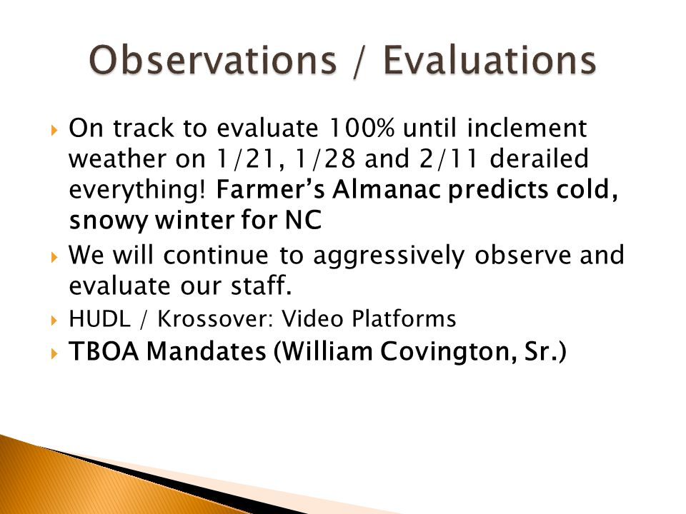 Observations / Evaluations