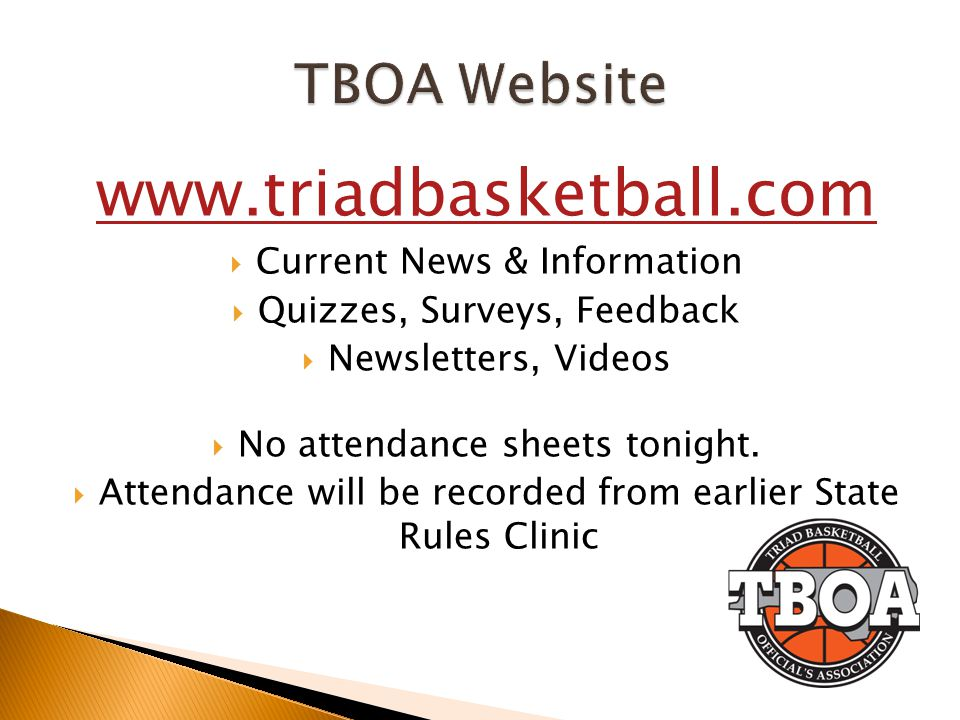 www.triadbasketball.com TBOA Website Current News & Information