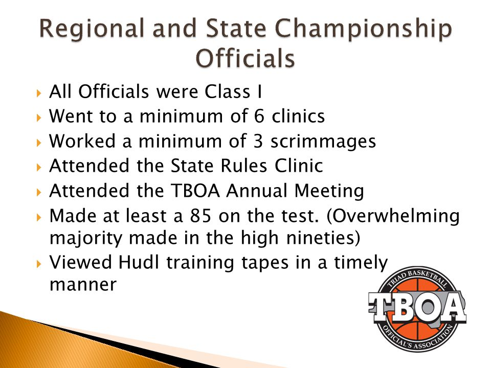 Regional and State Championship Officials