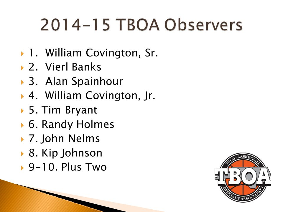 2014-15 TBOA Observers 1. William Covington, Sr. 2. Vierl Banks