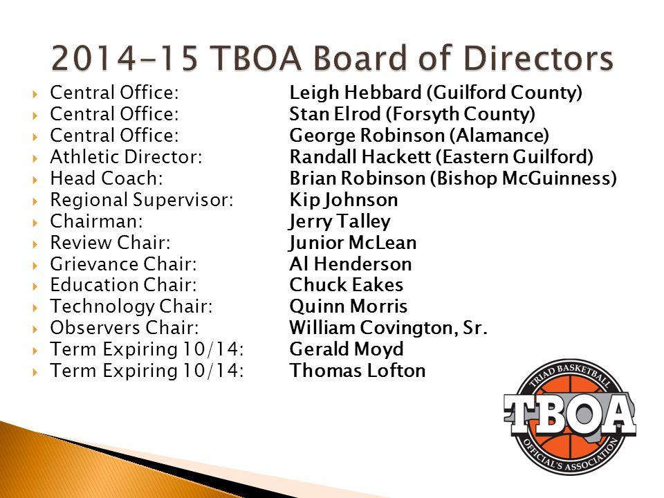 2014-15 TBOA Board of Directors