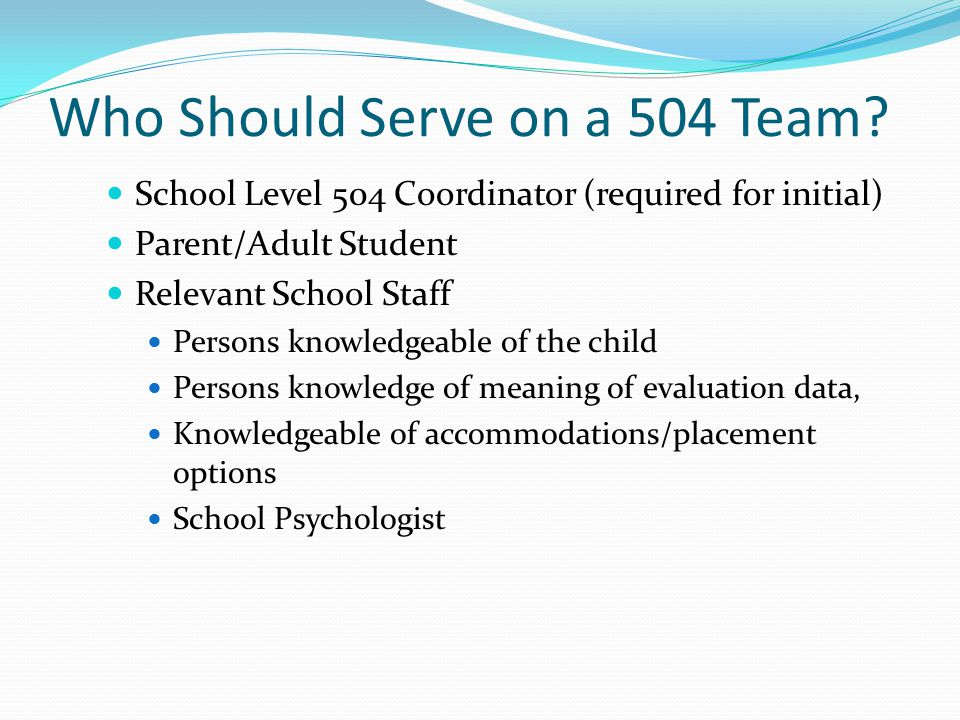 Who Should Serve on a 504 Team