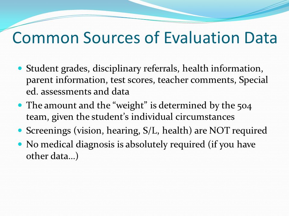 Common Sources of Evaluation Data