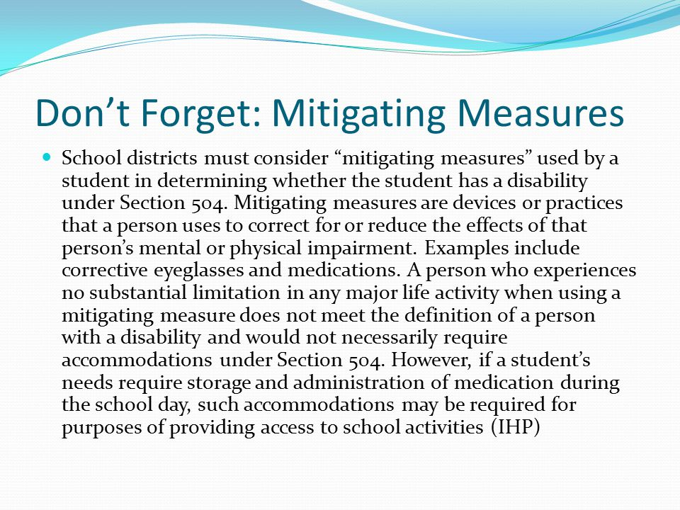 Don't Forget: Mitigating Measures