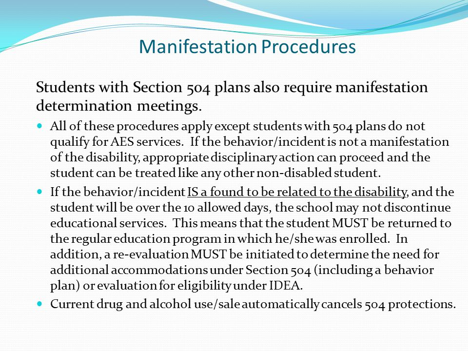 Manifestation Procedures