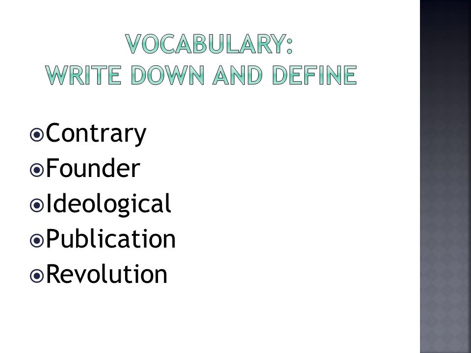Vocabulary: Write down and Define