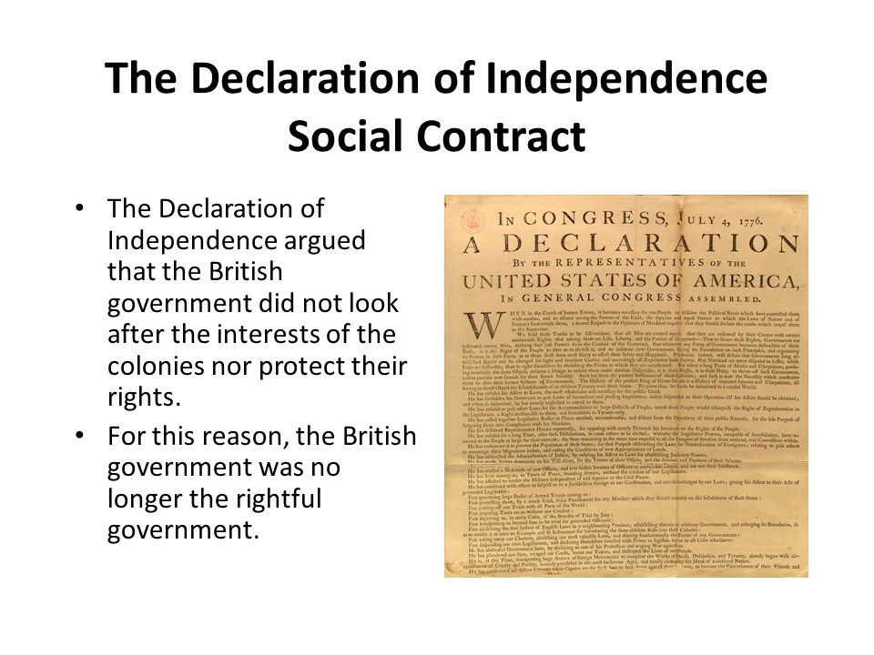The Declaration of Independence Social Contract