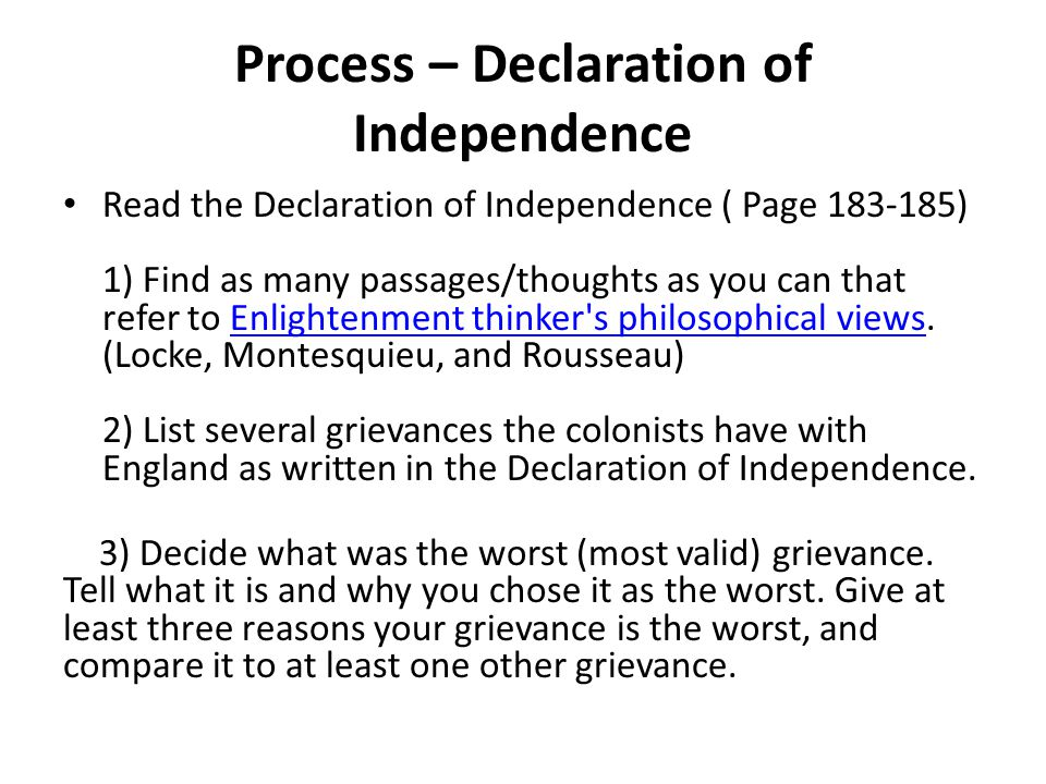 Process – Declaration of Independence
