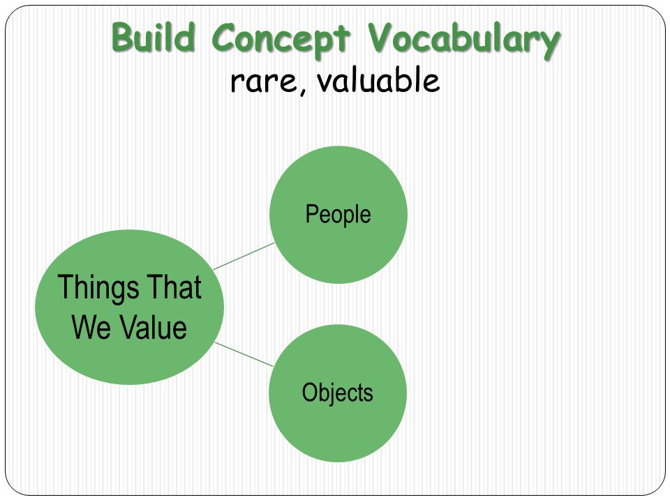 Build Concept Vocabulary rare, valuable