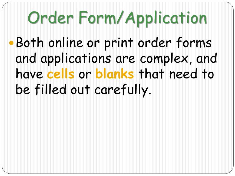 Order Form/Application