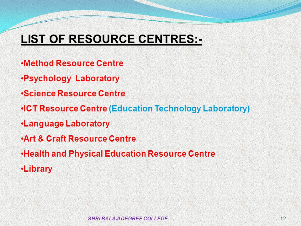 LIST OF RESOURCE CENTRES:-