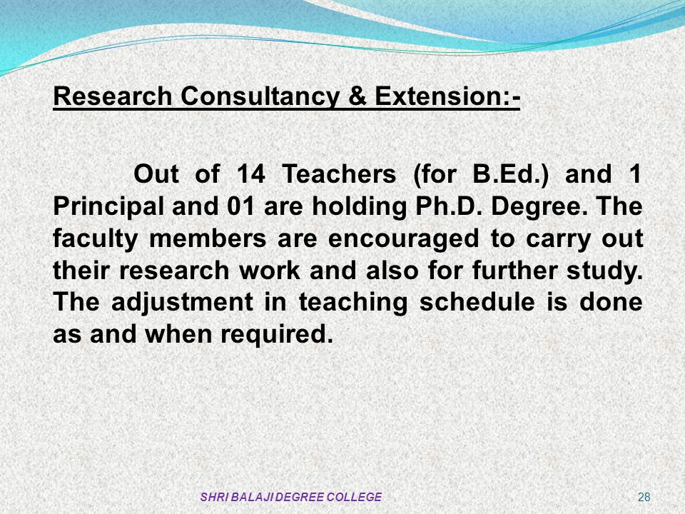 Research Consultancy & Extension:-