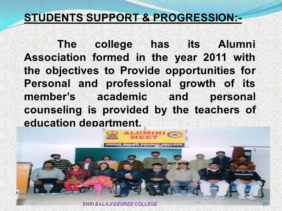 STUDENTS SUPPORT & PROGRESSION:-