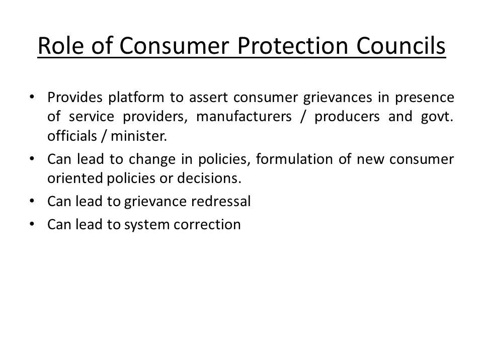 Role of Consumer Protection Councils