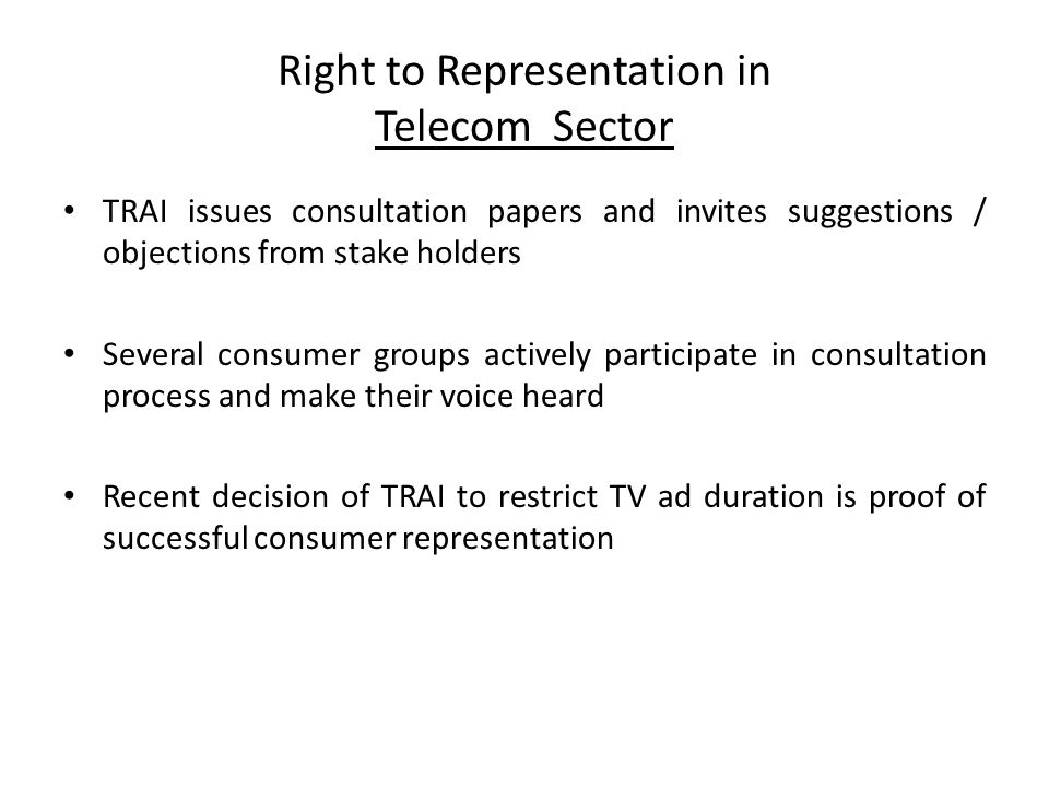 Right to Representation in Telecom Sector