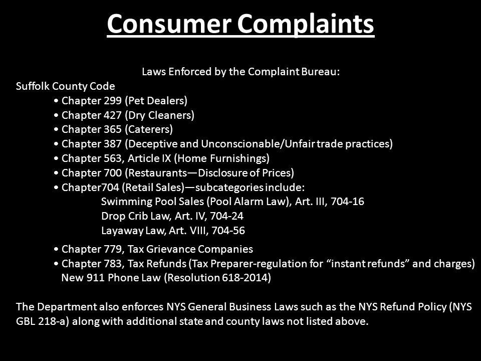 Laws Enforced by the Complaint Bureau: