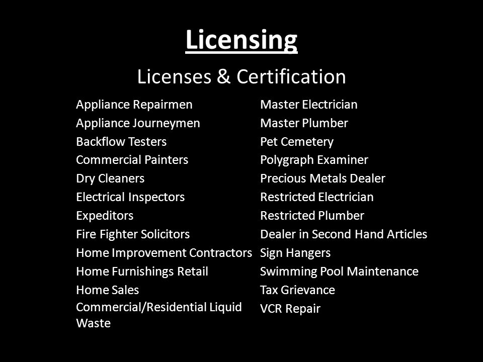 Licenses & Certification