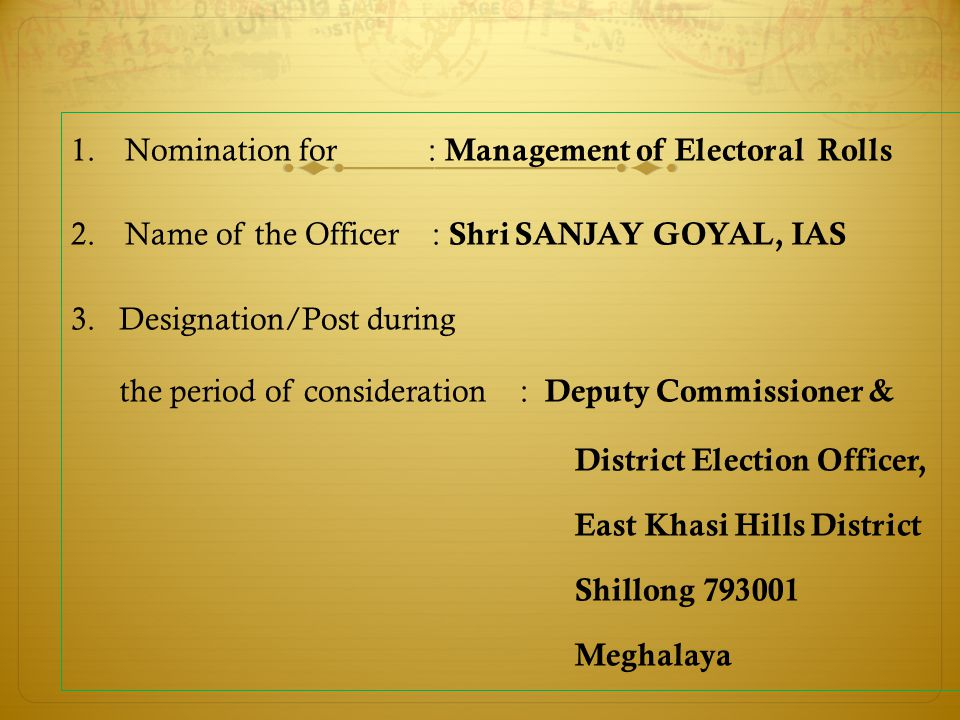 Nomination for : Management of Electoral Rolls