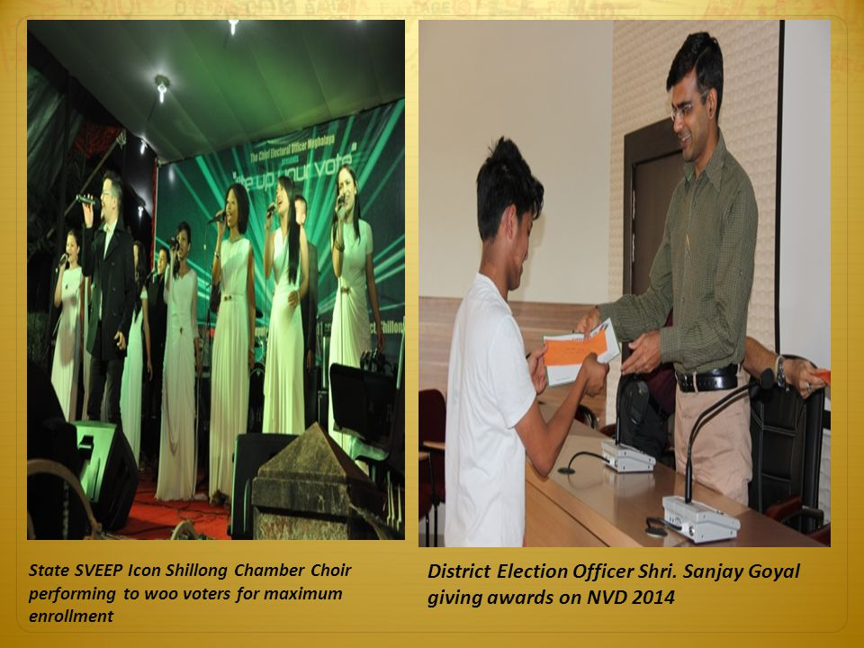District Election Officer Shri. Sanjay Goyal giving awards on NVD 2014