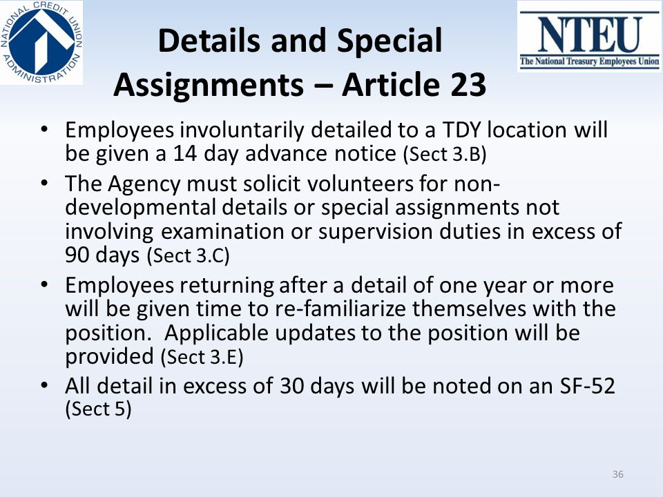 Details and Special Assignments – Article 23