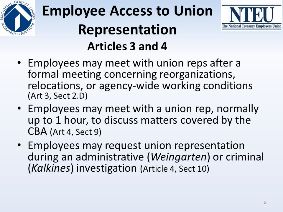 Employee Access to Union Representation Articles 3 and 4