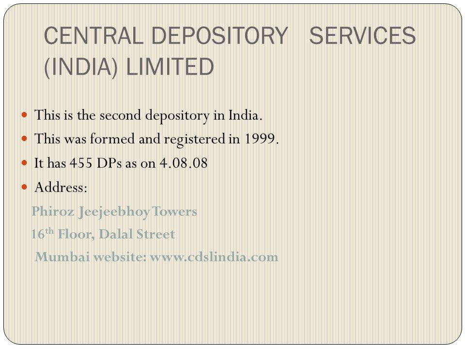 CENTRAL DEPOSITORY SERVICES (INDIA) LIMITED