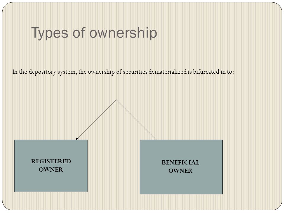Types of ownership In the depository system, the ownership of securities dematerialized is bifurcated in to:
