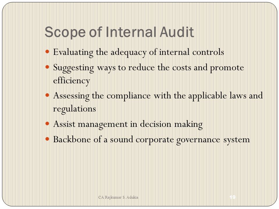 Scope of Internal Audit