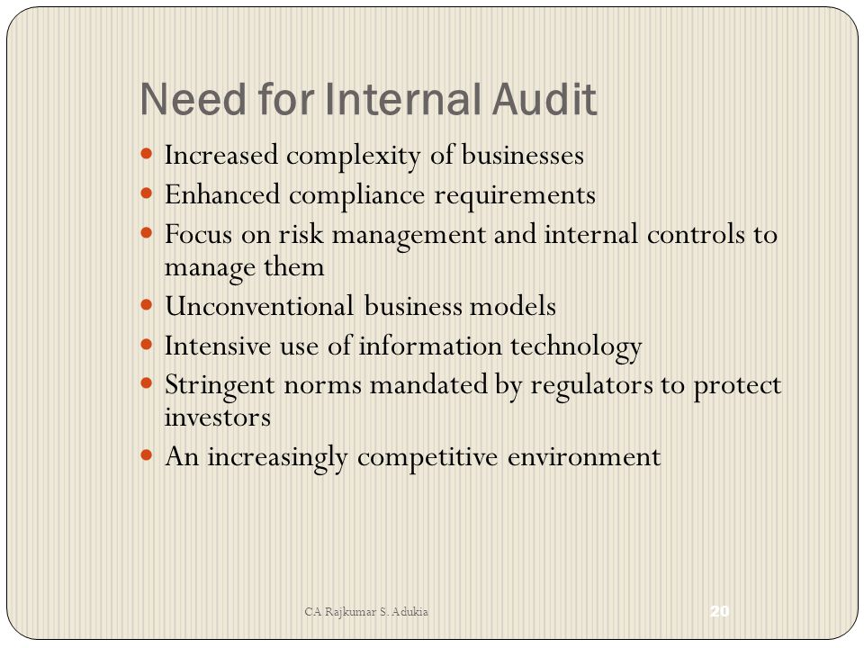 Need for Internal Audit