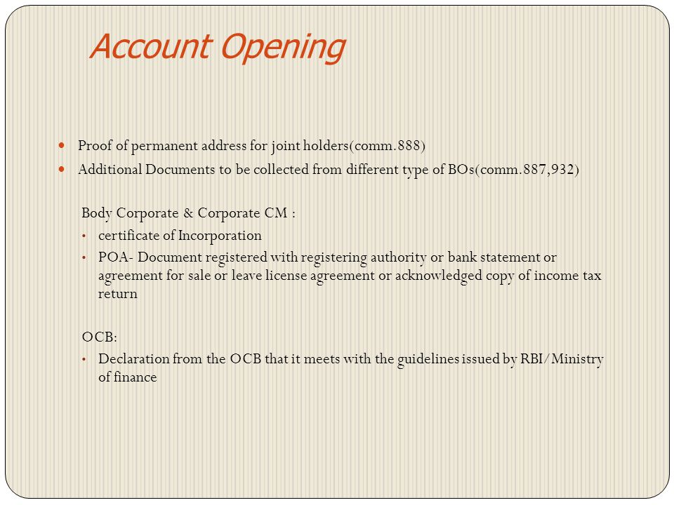 Account Opening Proof of permanent address for joint holders(comm.888)