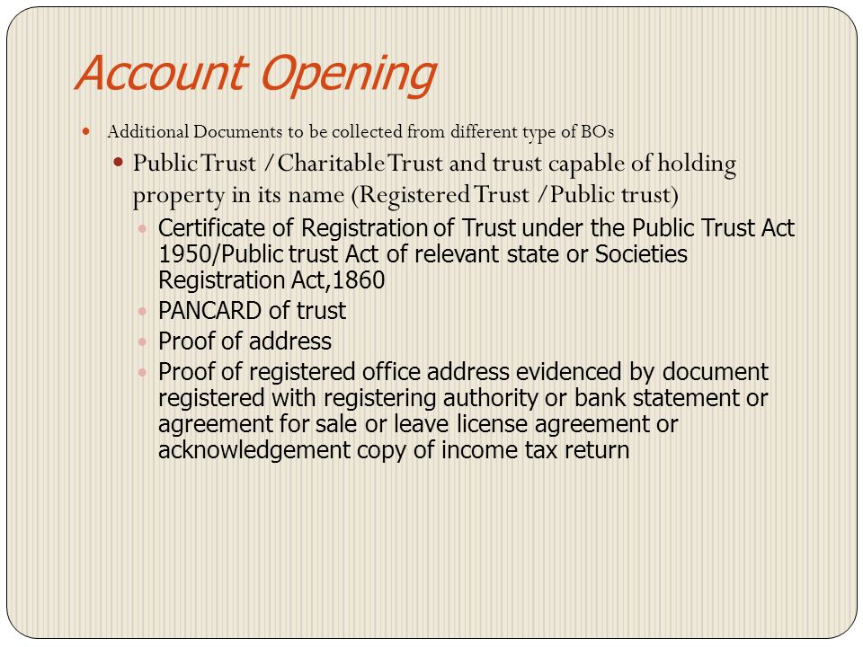 Account Opening Additional Documents to be collected from different type of BOs.