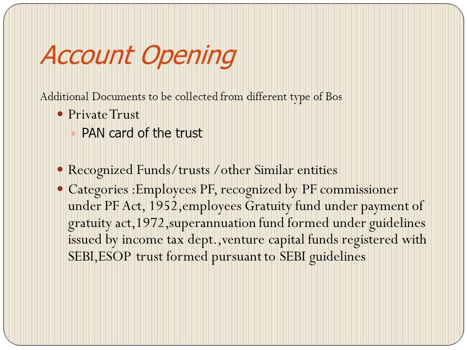 Account Opening Private Trust