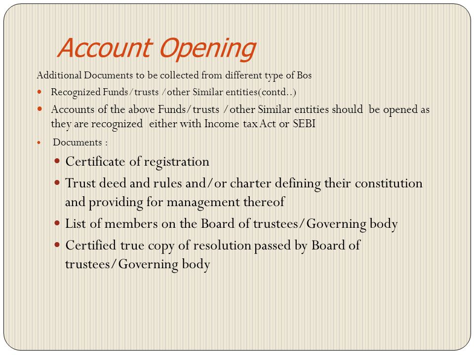 Account Opening Certificate of registration