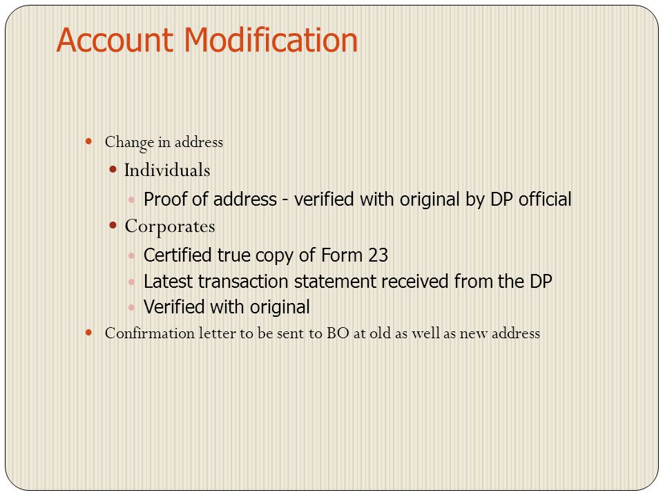 Account Modification Individuals Corporates Change in address