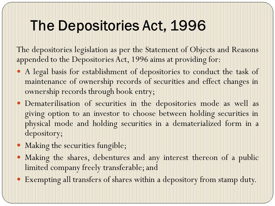 The Depositories Act, 1996