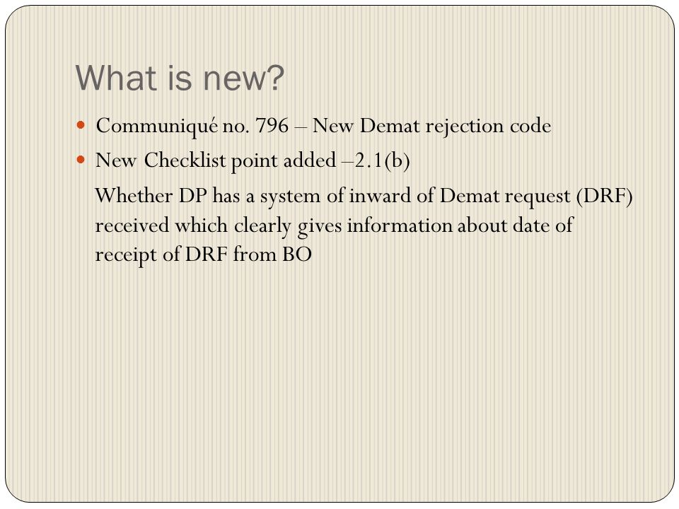 What is new Communiqué no. 796 – New Demat rejection code