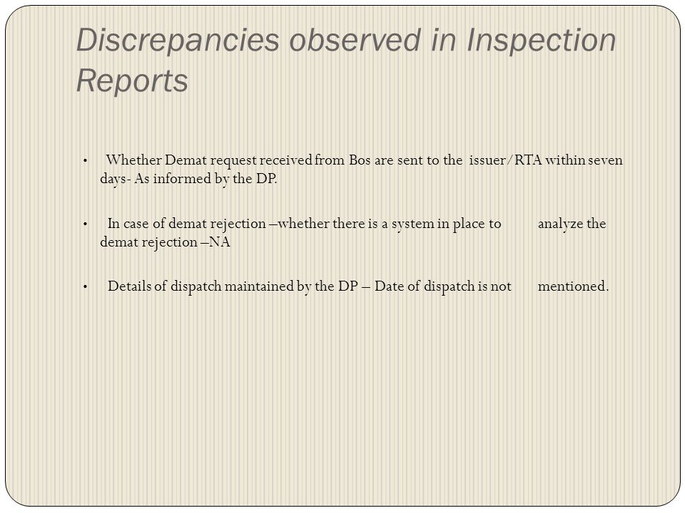 Discrepancies observed in Inspection Reports