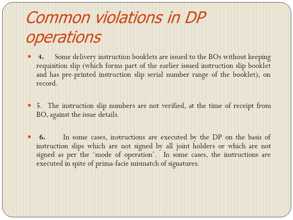 Common violations in DP operations
